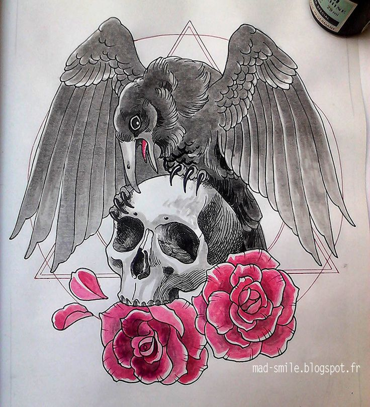 Crow, skull and roses http://mad-smile.blogspot.fr/