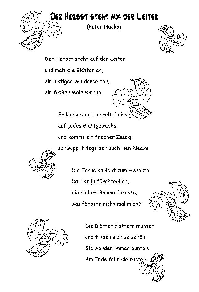 Gedichte: Herbst 04 (Herbst steht auf Leiter)