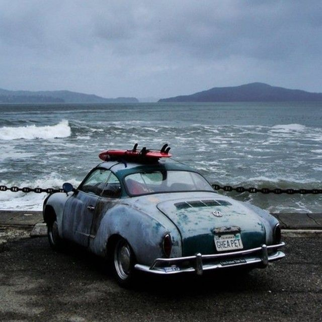 """""""Life - it is very beautiful when you get to know yourself, understand your surroundings, and have the best interaction between these two points."""" -  Carlos Burle, big wave rider.  VW Karmann Ghia  #bigwaves #CarlosBurle #surfers #vwkarmann #ghia #karmann #saturdaymorning #inspirations #travels #porsche #porschestyle #riders #vintagecars #rustedcars #Padgram"""