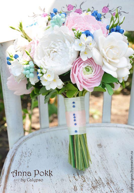 "Букет невесты "" Sono felice"" - разноцветный,букет невесты,букет невесты из глины"