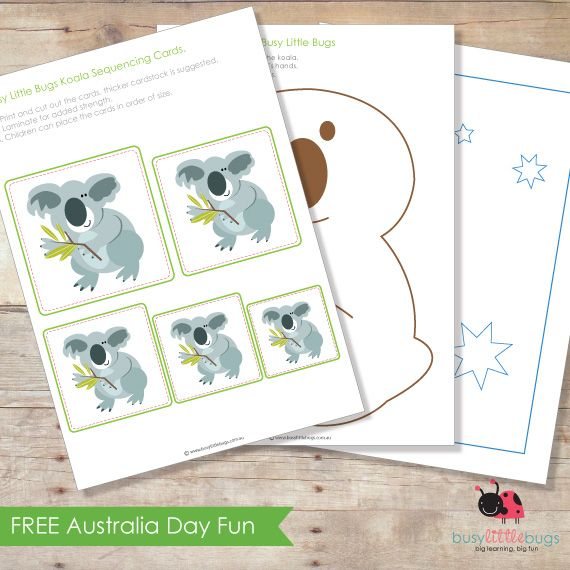 FREE Australia Day Fun! In the Australia Day fun pack, there are some adorable koala size sequencing cards, a koala craft activity and an Australian flag to decorate! From Busy Little Bugs