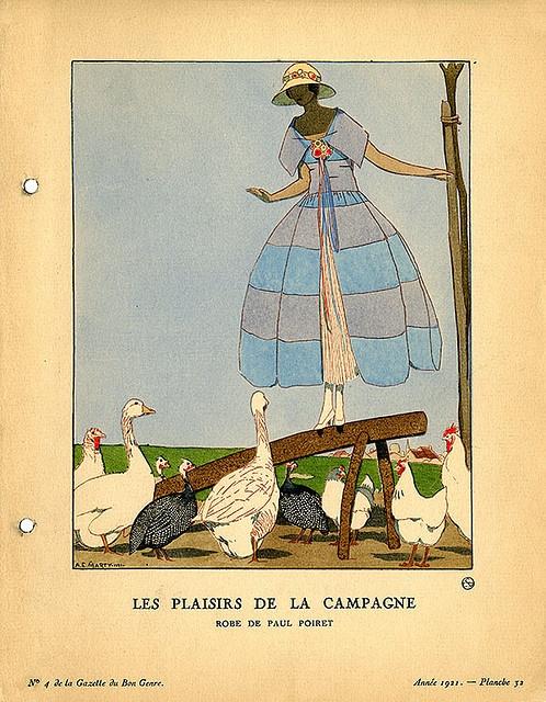 Les Plaisirs de la Campagne | Robe de Paul Poiret    Illustrator: Marty, Andre-Edouard, 1882-1974    Designer: Poiret, Paul, 1921.