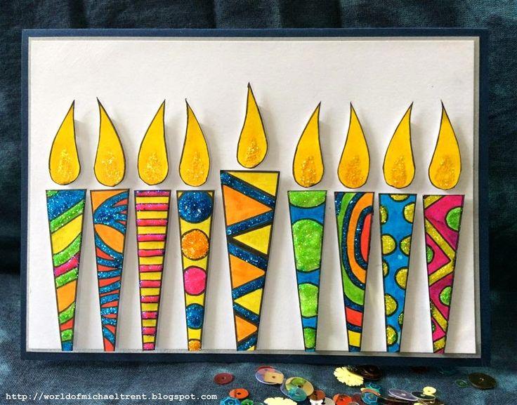 Handmade Hanukkah cards by Michael Trent using stencils from StencilGirl.