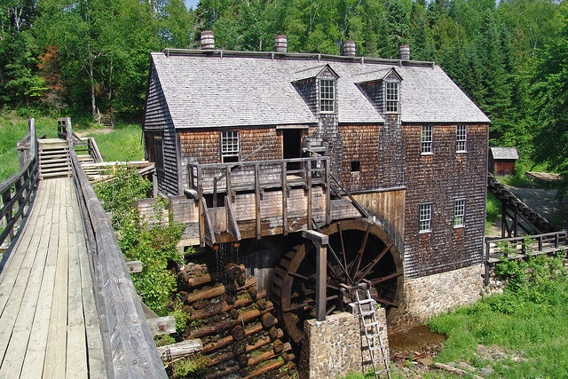 Water powered sawmill at Kings Landing Historic Village, Prince William, New Brunswick.