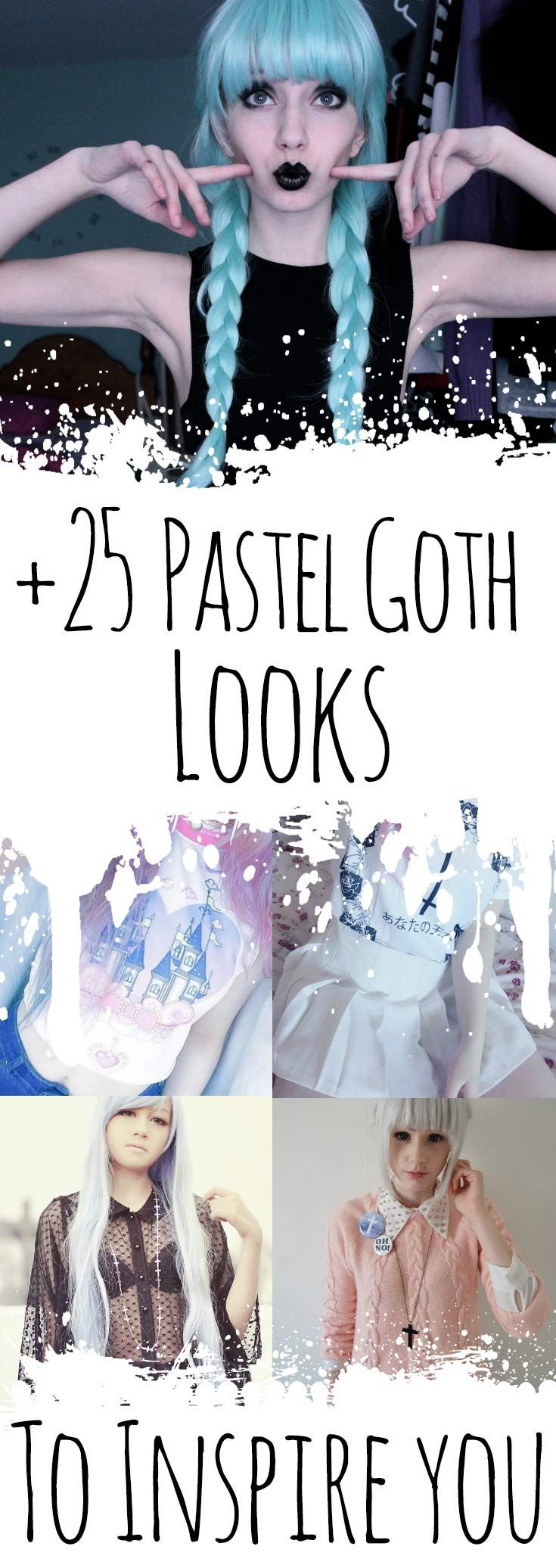 +20 Pastel Goth Looks to inspire you: shirts with cross patterns, spiked chokers, black dresses and much more! Read the article right here: http://ninjacosmico.com/25-pastel-goth-looks-inspire/