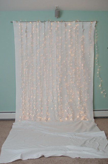String lights photo backdrop but a different color than white for the backdrop. Pictures for the guest %u201D book %u201D at our wedding, family photos, and baby photos. : ]