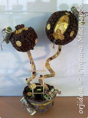 Бонсай топиарий Поделка изделие Моделирование конструирование Торцевание Моя разносторонняя любовь к творчеству Клей Кофе Монета фото 1