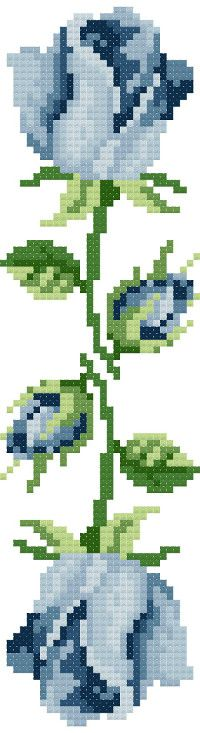 bookmark 6 blue roses cross stitch image