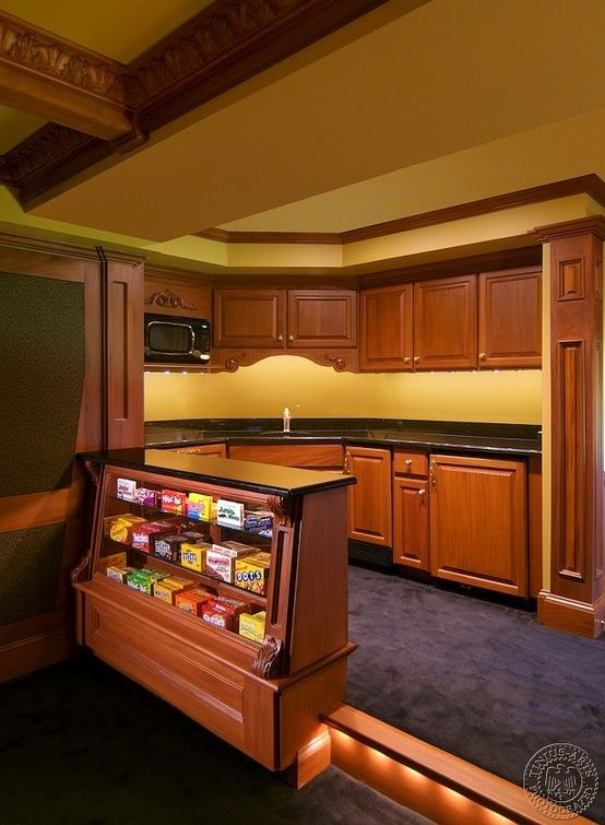 Home Theatre-Good idea for the theatre with a bar in it. Love the idea, but would like different colors/materials