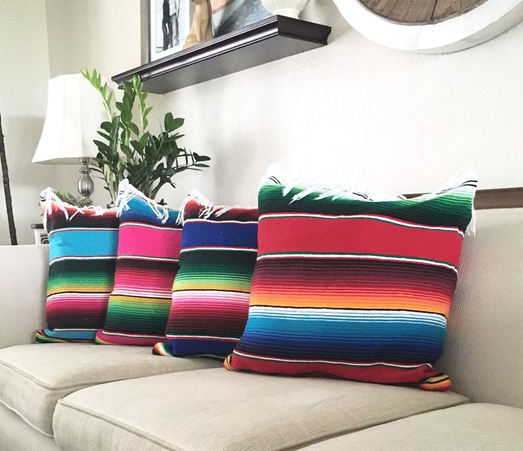 "Pillow cover made from the classic baja blanket. Fits standard 18"" x 18"" square pillows (pillow insert not included). Hidden zipper enclosure. Machine washable."
