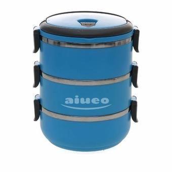 Belanja AIUEO Eco Lunch Box Stainless Steel Rantang 3 Susun - Blue Indonesia Murah - Belanja Wadah & Penyimpan Makanan di Lazada. FREE ONGKIR & Bisa COD.