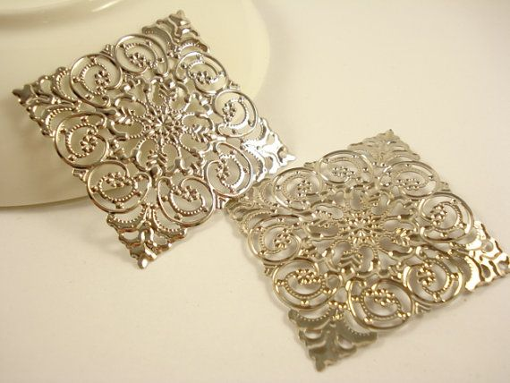 5pcs Large Square Filigree Base Antiqued Silver Tone by yooounique, $2.85
