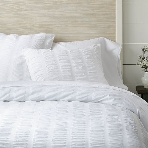 Organic Seersucker Duvet Cover + Shams - White | west elm