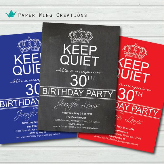 30th birthday invitation. Adult surprise birthday invitation. Man or woman. Surprise Party Invite. Keep calm and party on. Chalkboard AB45 on Etsy, $14.75 CAD