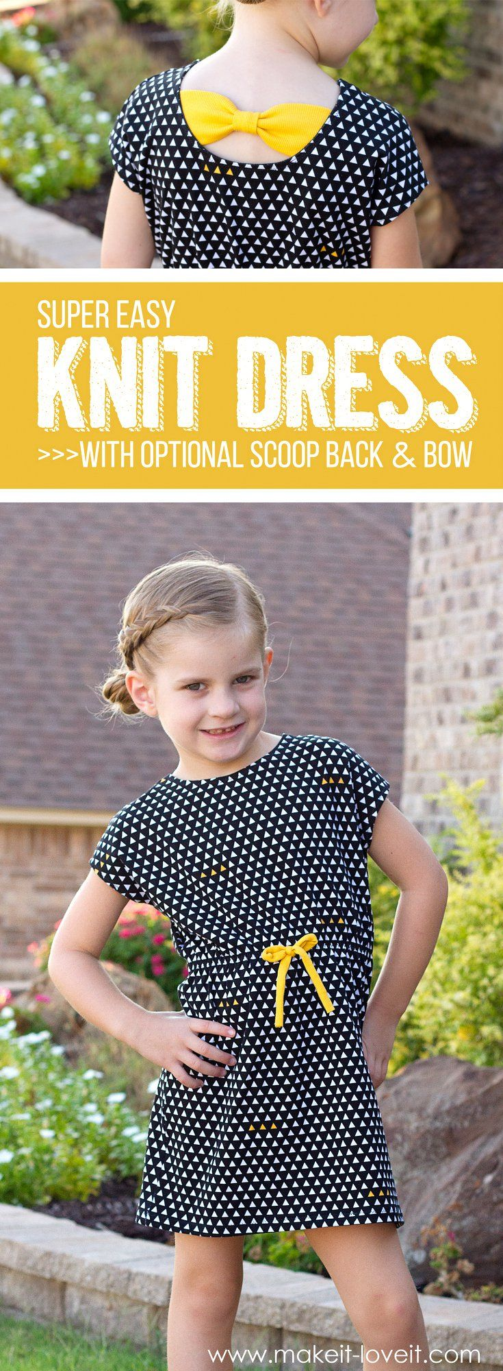 Super Easy Knit Dress...with optional Scoop Back and Bow! | via www.makeit-loveit.com