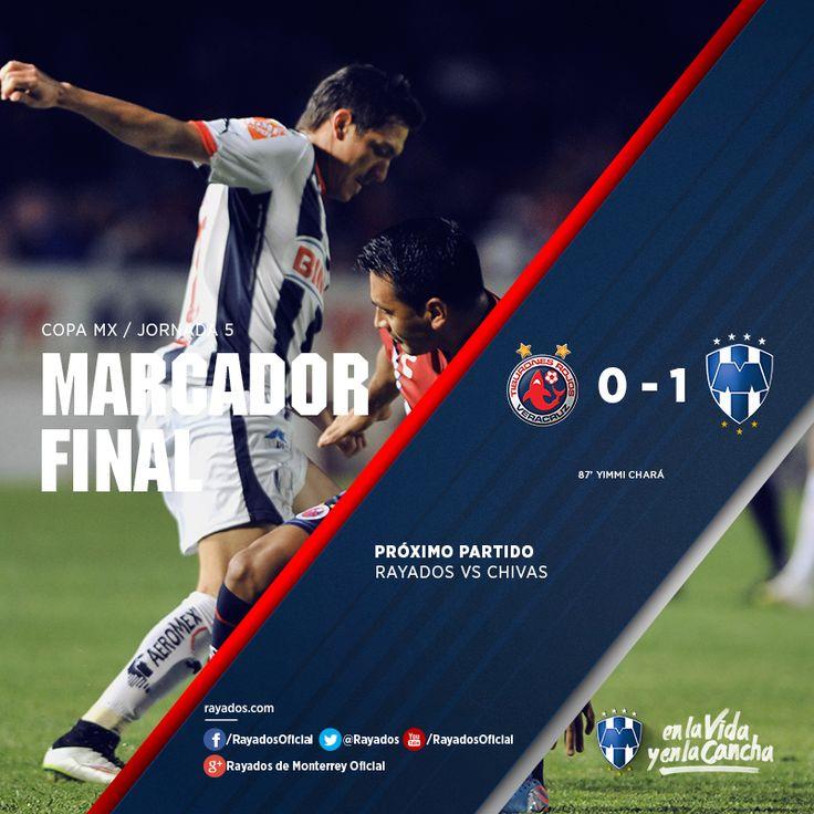 Finaliza el encuentro! Los #Rayados logran el triunfo en su visita a Veracruz. Tiburones Rojos de Veracruz 0-1 Club de Futbol Monterrey. ¡Gracias por apoyarnos #EnLaVidayEnLaCancha! Próximo partido: Domingo 01 de marzo a las 17:00hrs en el estadio Omnilife.
