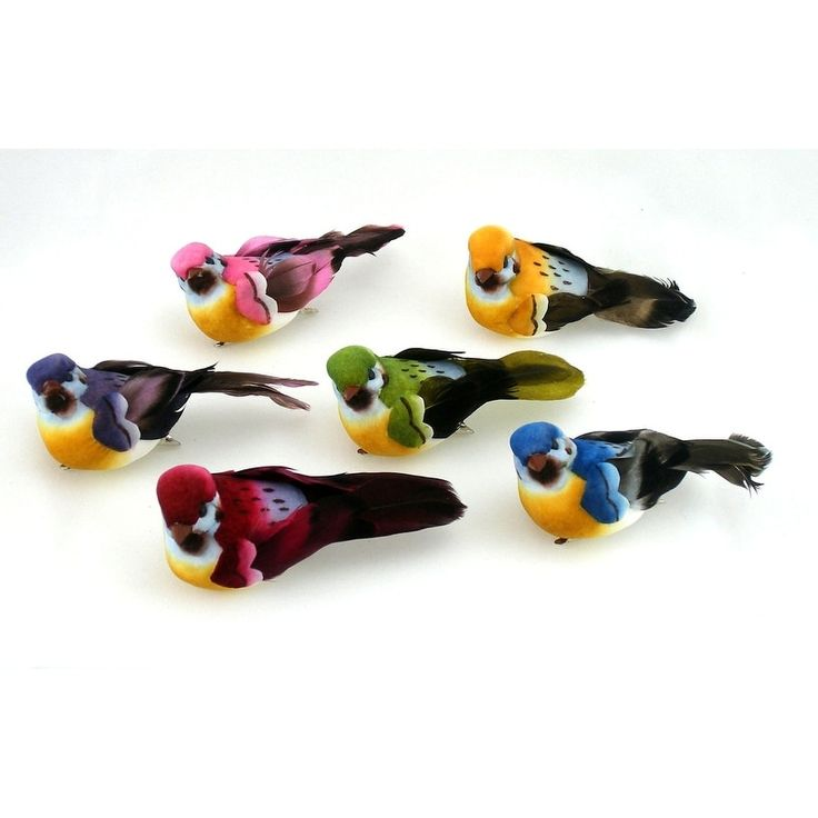 One Dozen, 3.5 Inch Artificial Bird Assortment On Clip Feature Dark Colored Bodies & Natural Style Feather Tails, Brown mushroom