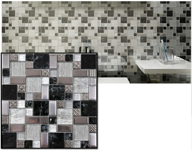 Glass and stainless mosaics and great for feature walls or kitchen splash backs.