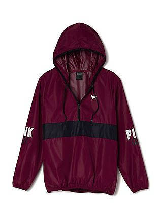 Victorias Secret PINK Anorak Pullover Hoodie Windbreaker Jacket Maroon XS/Sm NEW