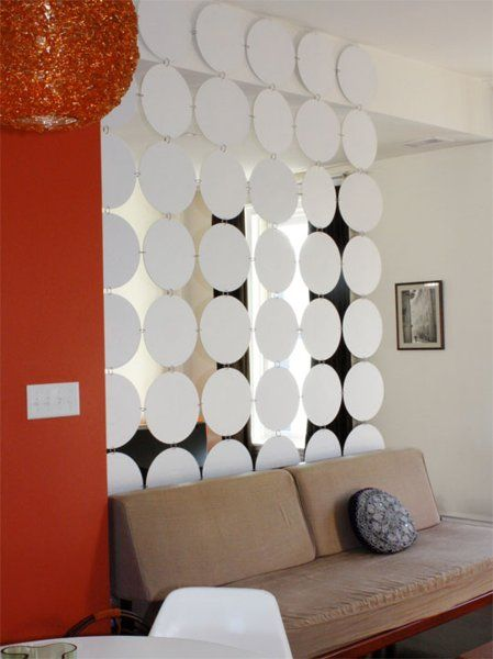 DIY Room Divider  contact paper over old records to make a room divider