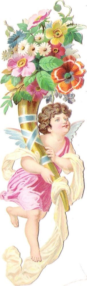 Oblaten Glanzbild scrap die cut chromo Engel ange 16cm l Amor cupid