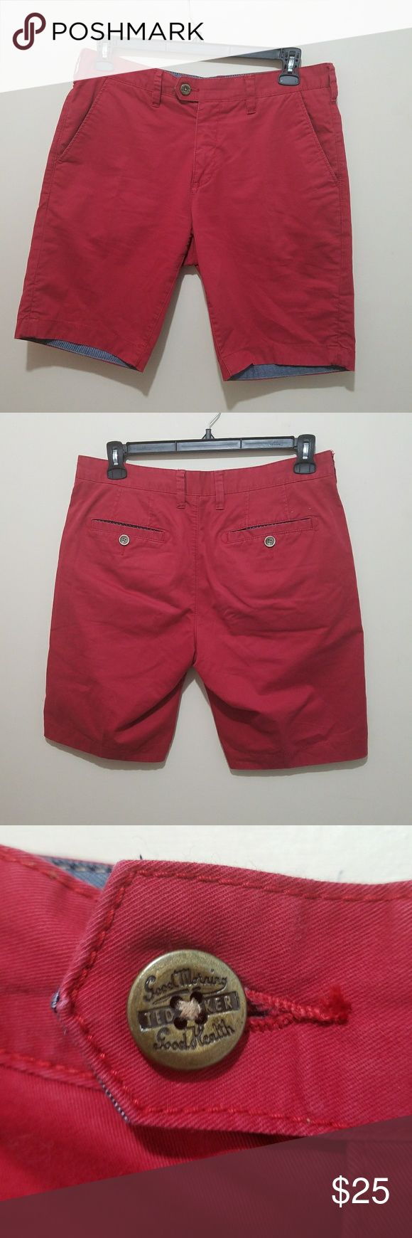 Ted Baker Red Chino Shorts Size 32 R Excellent Condition Ted Baker London Shorts Flat Front