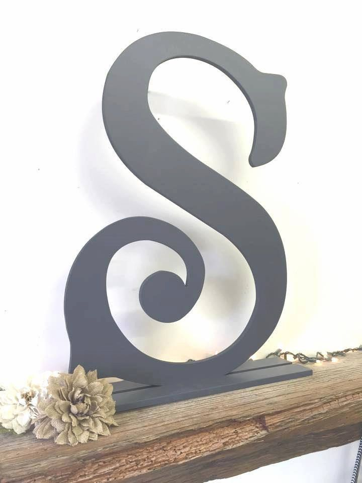 """24"""" Large Wood Monogram Letter S, wall mounted, free standing, with stand, head wedding table, wall, letter decal, wedding guestbook idea by HowdyOwl on Etsy"""