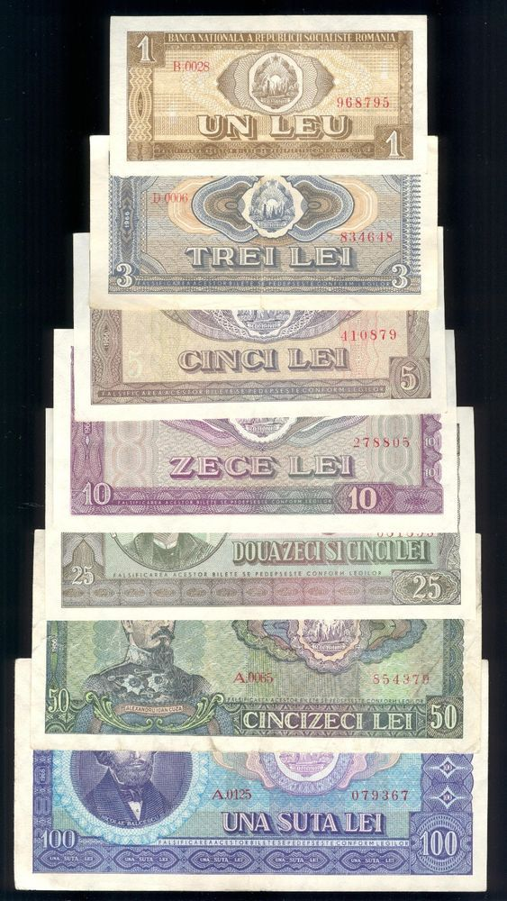 Full SET 1966 banknotes 1,3,5,10,25,50 & 100 Lei Ceausescu era Romania note in Coins & Paper Money, Paper Money: World, Europe | eBay