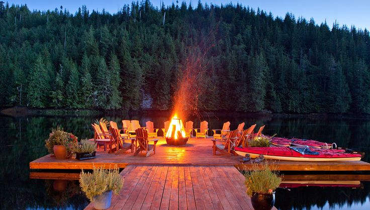 Nimmo Bay Wilderness Resort, a family-owned and -operated adventure resort in British Columbia, Canada: Bonfires, Summer Day, Dreams, Decks, Lakes Houses, Bays, Firepit, Summer Night, Fire Pit