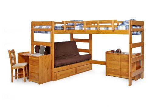 Woodcrest Heartland Futon Bunk Bed With Extra Loft Honey Pine Beds