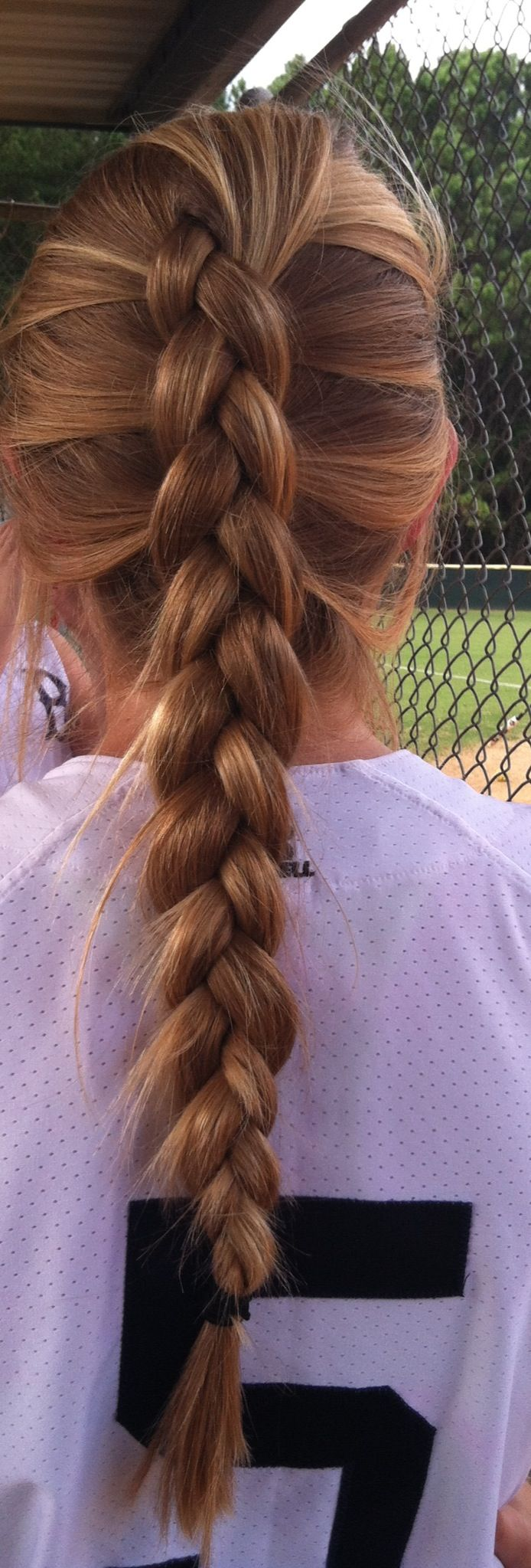 Softball hair :) me except i have two braids and it takes forever...Thank you mom!