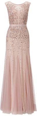 Adrianna Papell Wedding Long Beaded Gown, Blush