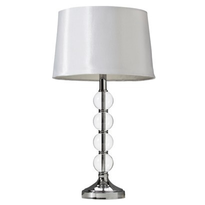 Crystal table lamp with white shade includes cfl bulb add a pom pom trim to lamp shade for a custom look