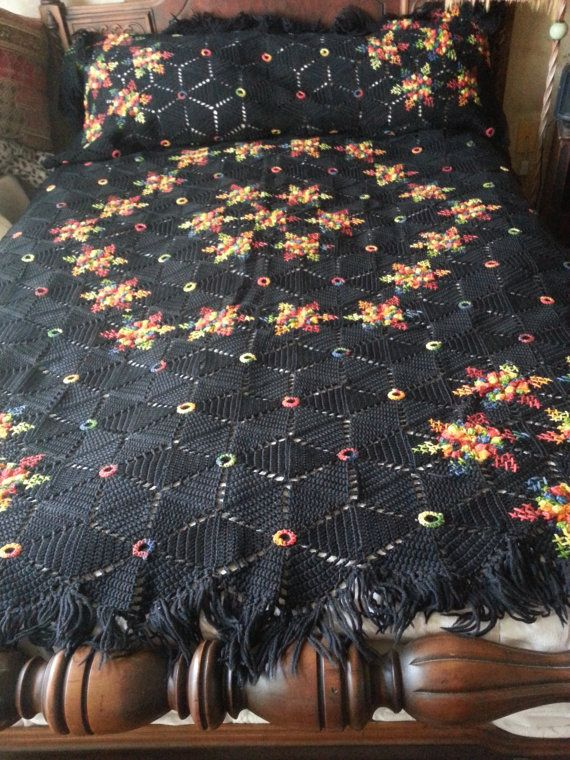 Just listed and it is a beauty.....Afghan Blanket Star Snowflake Handmade  Crochet Throw by twysp2