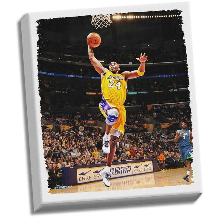 """Steiner Sports Los Angeles Lakers Kobe Bryant Dunk 32"""" x 40"""" Stretched Canvas, Multicolor"""