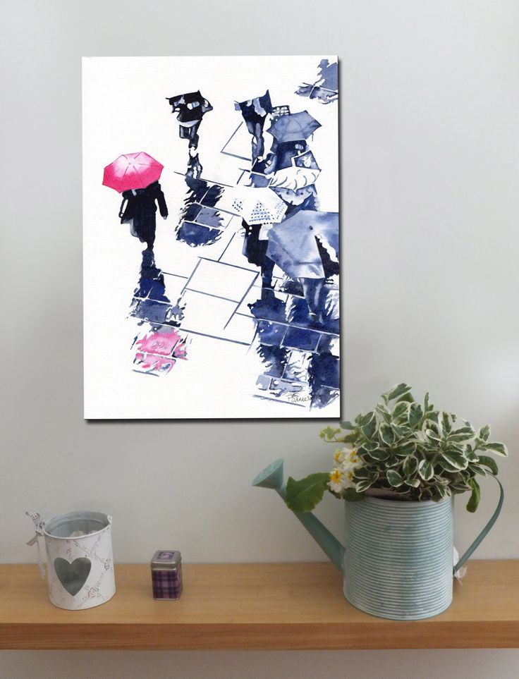 BROLLIES PINK http://www.splashyartystory.com/shop/art-prints/pink-brolly-and-reflections-art-print-of-painting/