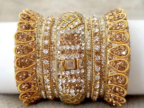 Indian bridal jewelry set |  Golden Bangles unique design