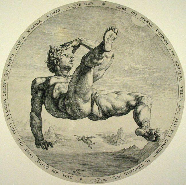 Ícarus - Hendrick Goltzius - dibujante, grabador y pintor holandés. Considerado el mejor grabador de los Países Bajos