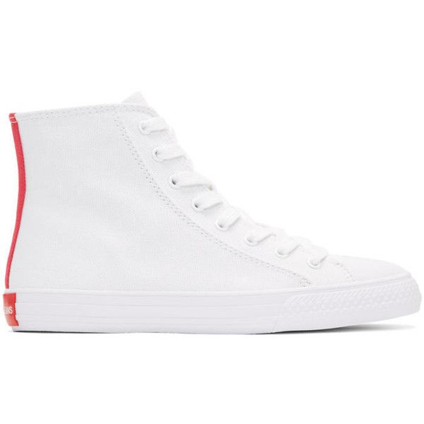 Calvin Klein 205W39NYC White Constantine 135 High-Top Sneakers ($90) ❤ liked on Polyvore featuring men's fashion, men's shoes, men's sneakers, white, mens white high top sneakers, mens high top sneakers, mens white canvas sneakers, mens canvas shoes and mens high top shoes
