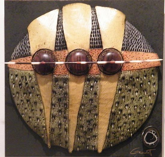 VICKI GRANT - Homage to Tane Mahuta_ No. 11 (Porcelain and mixed media on slate)