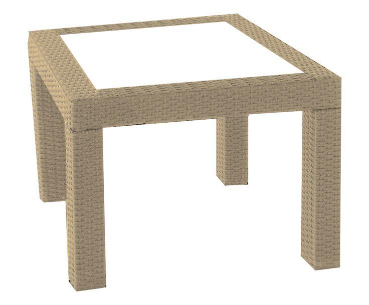Tavolo in alluminio e tecnorattan Alassio rovere - 55x55x45 cm