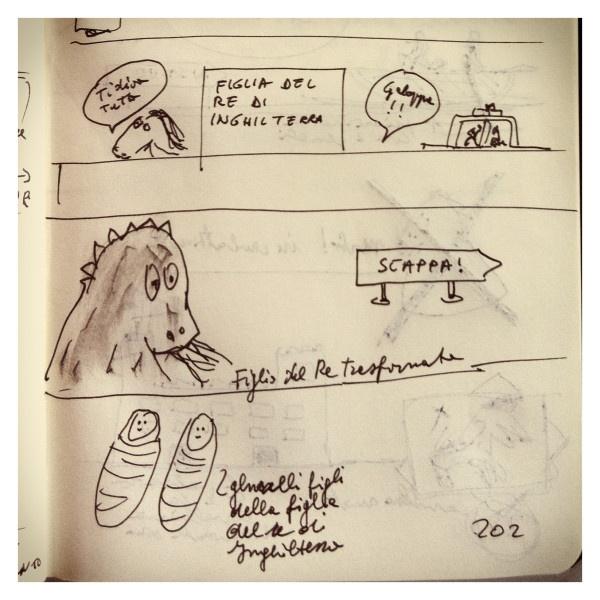 075_Il Drago e la cavallina fatata disegnata da Marco Belpoliti su @ moleskine