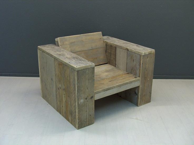 NIEUW Lounge stoel steigerhout geschuurd en 99cm breed, voorraad (5420121952) | Voorraad loungebanken & stoelen | JORG`S Houten Meubelen