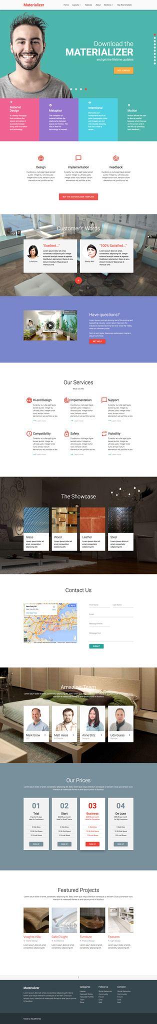 u0026 39 materializer u0026 39  is a html landing page template designed