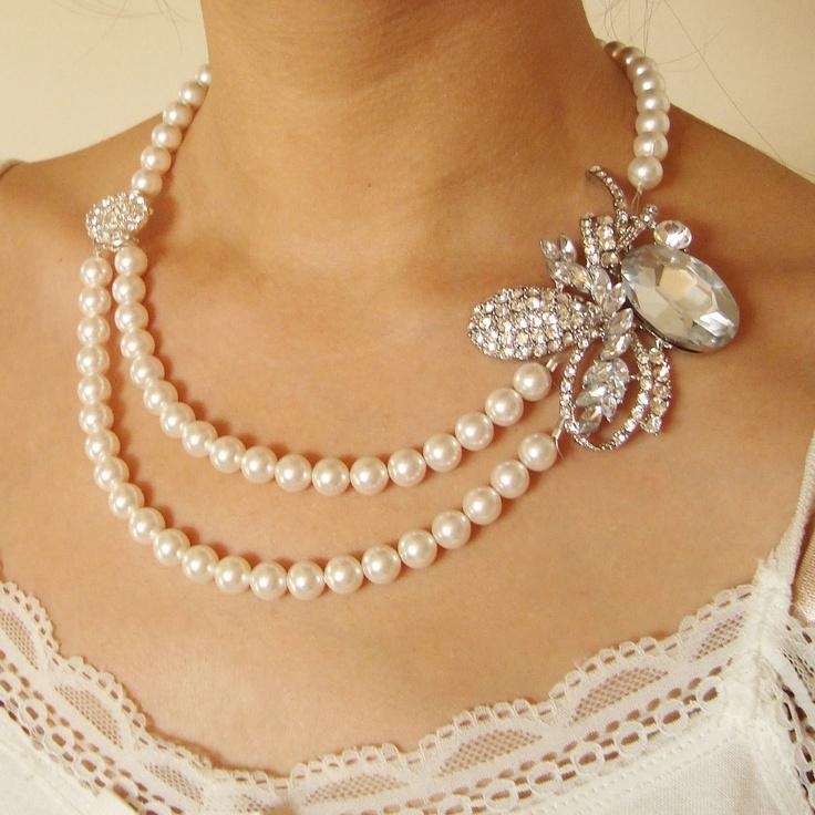 Rhinestone Bridal Necklace, Ivory White Pearl Wedding Jewelry, Statement Bridal Jewelry, Pearl Wedding Necklace, CHRISTA. $108.00, via Etsy.
