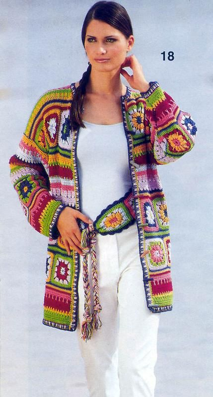 Crochet sweater jacket. I LOVE these colors!