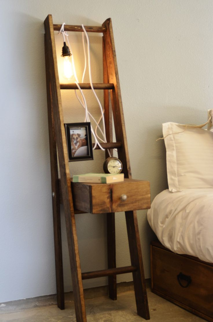 Ladder Nightstand with Drawer by KnotsandBiscuits on Etsy https://www.etsy.com/listing/185488473/ladder-nightstand-with-drawer