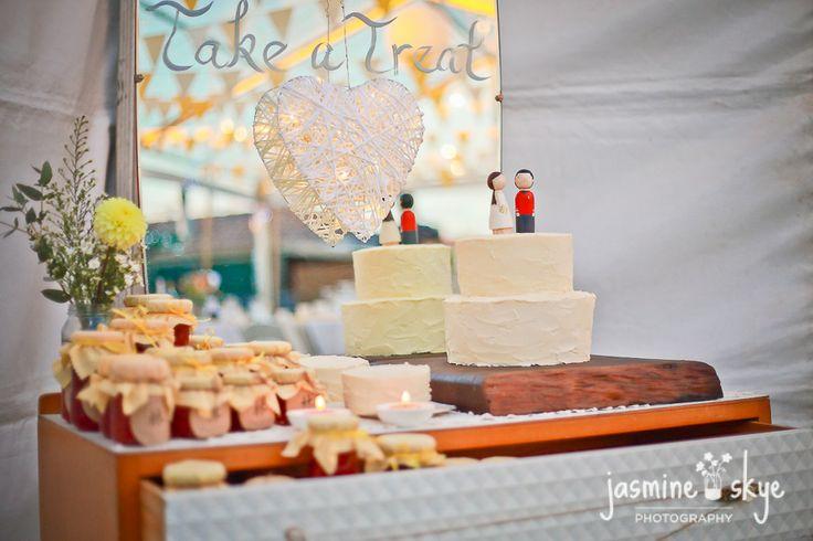 vintage wedding perth. Cake, favours, and card drawer. Backyard wedding ideas.