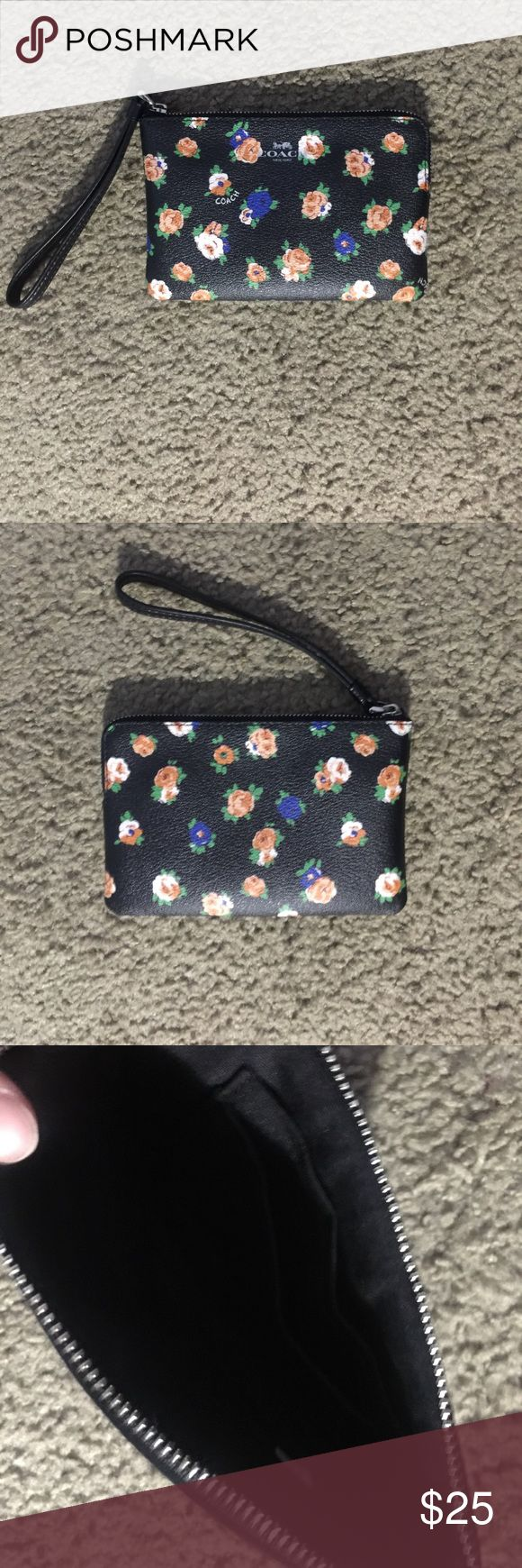 Coach floral wristlet Used. Great condition! Coach floral wristlet. Has 2 card compartments on one side. Coach Bags Clutches & Wristlets