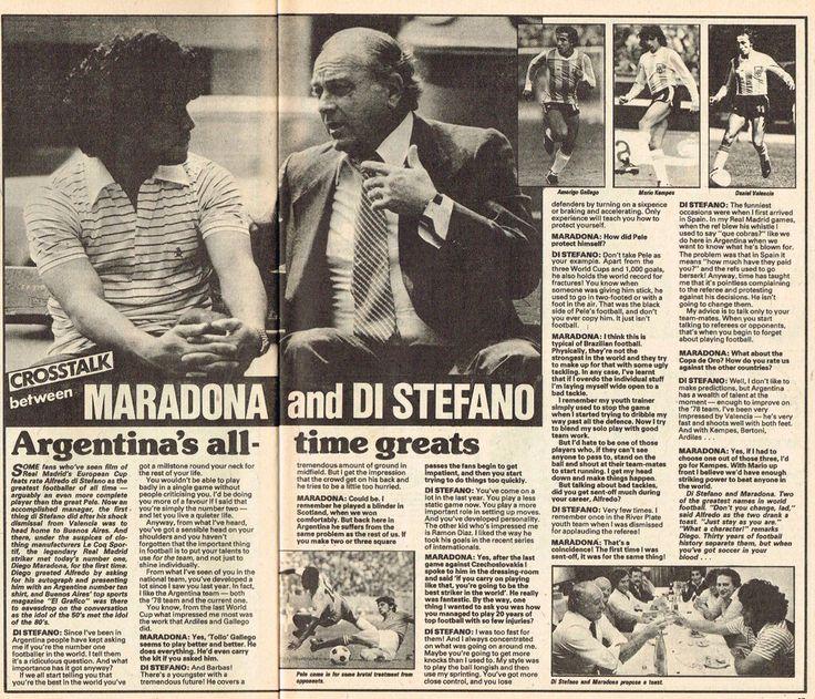 Maradona y Alfredo Di Stefano. Revista Shoot!